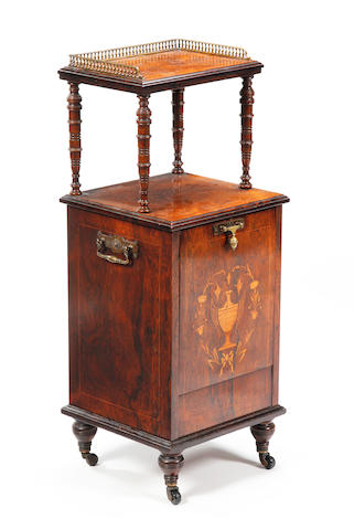 A late Victorian rosewood and inlaid two-tier coal purdonium
