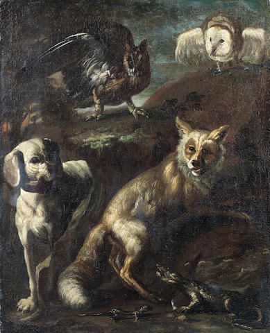 Genoese School, 17th century A fox, long-eared owl, a barn owl and a dog with a crocodile and lizard
