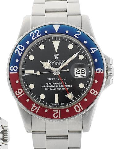 Rolex. A stainless automatic calendar bracelet watch with time zone indication GMT Master, Ref:1675, Serial No.200****, Circa 1968