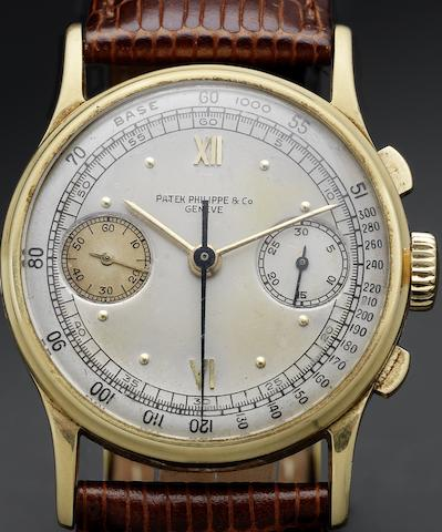 Patek Philippe & Co. Geneve. A fine and rare 18ct gold chronograph wristwatch together with Patek Philippe Extract from ArchivesRef:130, Case No.628893, Movement No.862846, Made in 1942, Sold October 13th 1942
