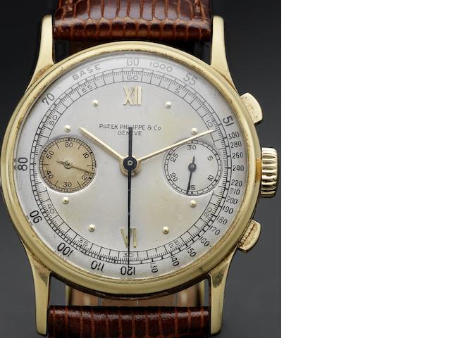 Patek Philippe & Co. Geneve. A fine and rare 18ct gold chronograph wristwatch together with Patek Philippe Extract from Archives Ref:130, Case No.628893, Movement No.862846, Made in 1942, Sold October 13th 1942