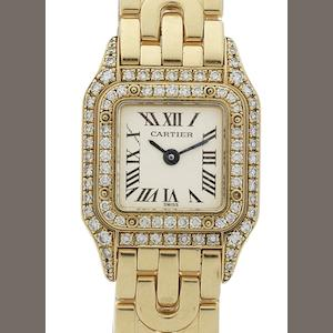 Cartier. A lady's 18ct gold and diamond set quartz bracelet watch Panthere, Case No.CC80352, Circa 1990