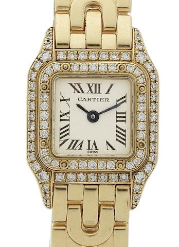 Cartier. A lady's 18ct gold and diamond set quartz bracelet watchPanthere, Case No.CC80352, Circa 1990