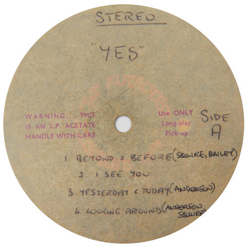 Yes: An acetate recording of the eponymous debut album by Yes, 1969,