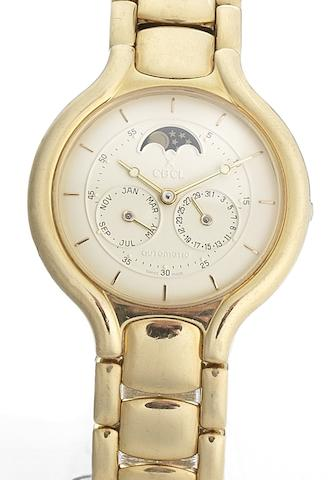 Ebel. A fine 18ct gold automatic centre seconds calendar wristwatch with moon phases Beluga, Case No.895960, Circa 1990