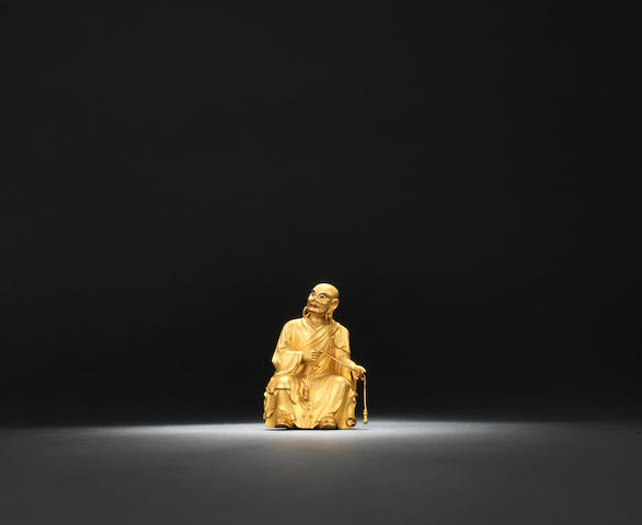 A gilt-wood figure of a luohan Qianlong