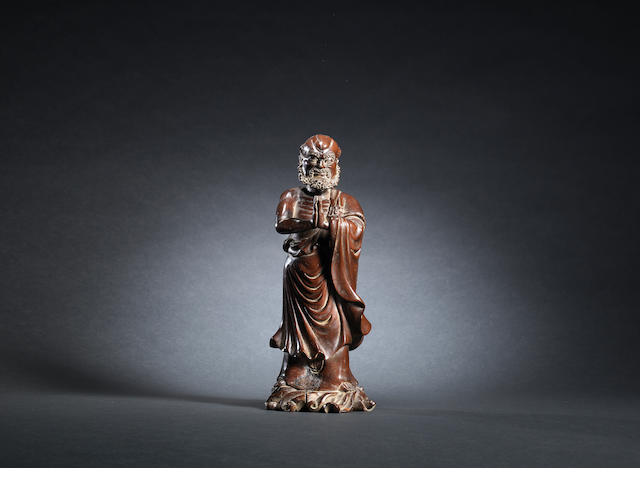 A lacquered wood standing figure of Bodhidharma Qing dynasty