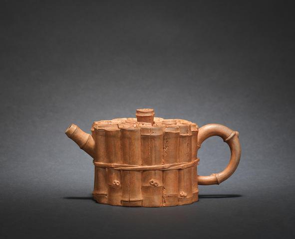 An Yixing 'bamboo' teapot and cover signed Chen Zhongmei