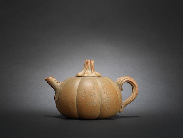 An Yixing 'pumpkin' teapot and cover signed Chen Mingyuan