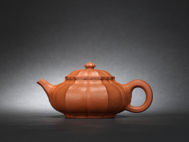 An Yixing 'narcissus' teapot and cover 1897-1977, signed Wang Yinchun