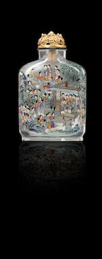 An inside-painted glass 'hundred beauties' snuff bottle Gu Qun, dated 1989