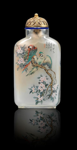 An inside-painted glass 'geese and parrots' snuff bottle Wang Baichun, dated 1987