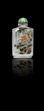 An inside-painted glass 'leopards' snuff bottle Wang Qian, dated 1989