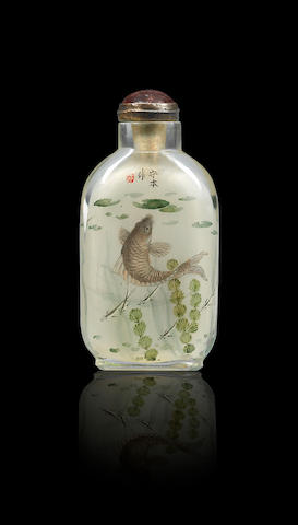 An inside-painted glass 'fish' snuff bottle Liu Shouben