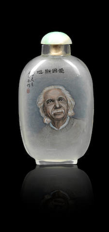 An inside-painted glass 'Albert Einstein' snuff bottle Liu Shouben, dated 1964
