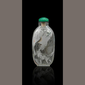 An inside-painted glass 'deer and dogs' snuff bottle Wang Baichuan, dated 1978