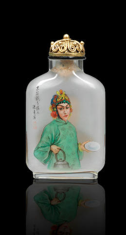 An inside-painted glass 'Cheng Yanqiu' snuff bottle Dong Xue, dated 1989