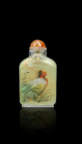 An inside-painted glass 'pheasant' snuff bottle Dong Xue, dated 1989