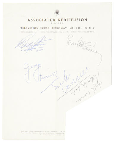 The Beatles: A set of Beatles autographs on Associated-Rediffusion Ltd. stationery, 1963/64,