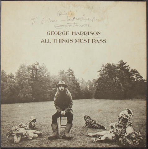 George Harrison: an autographed copy of the triple-vinyl album box set, 'All Things Must Pass',