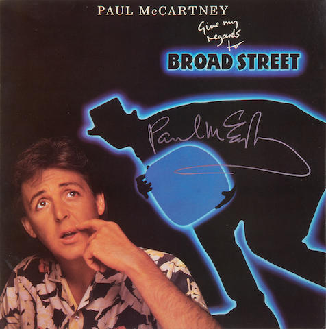 Paul McCartney: an autographed copy of the vinyl album 'Give My Regards To Broad Street',