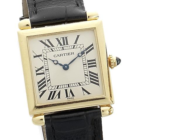 Cartier. A fine 18ct gold quartz wristwatch with barrel lugs Tank Carré Obus, Circa 1980