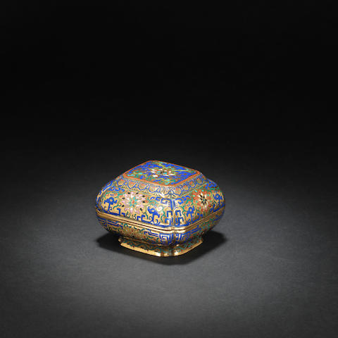 A gilt-bronze and champlevé-enamelled box and cover Qianlong