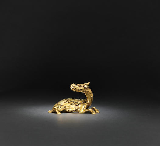 A gilt-bronze 'tianlu' paper weight Late Ming dynasty