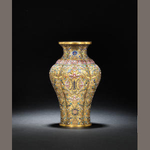 A pair of gilt-bronze and champlevé-enamelled quatrelobed vases Qianlong