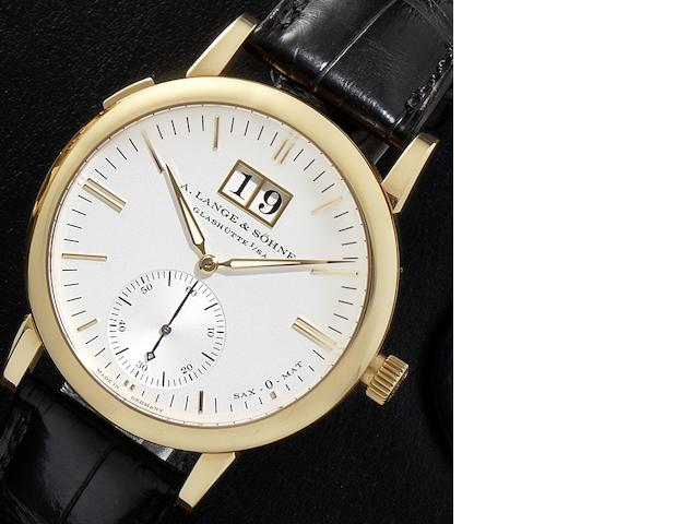A. Lange & Söhne. A fine 18ct rose gold automatic calendar wristwatch together with fitted box and guarantee booklet Sax-O-Mat, Ref:308.021, Case No.165957, Movement No.40944, Recent