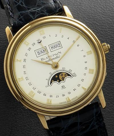 Blancpain. An 18ct gold automatic triple calendar wristwatch with phases of the moon Case No.1205, Circa 1990