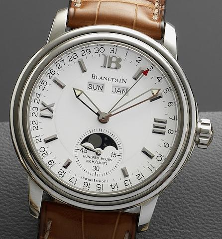 Blancpain. A stainless steel automatic triple calendar wristwatch together with Blancpain presentation boxHundred Hours, Case No.755, Circa 2000