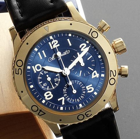 Breguet. A fine 18ct rose gold automatic chronograph wristwatch together with presentation box Aeronavale Type XX, Ref:3800, Numbered 4793G, Circa 2005
