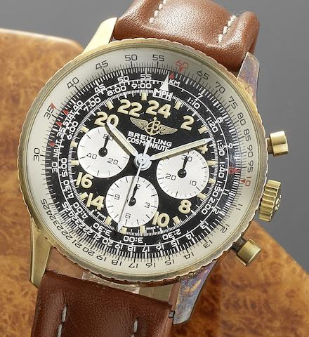 Breitling. An 18ct gold manual wind chronograph wristwatch together with Breitling presentation box Cosmonaute, Ref:81600, Movement No.4295783, Circa 1985