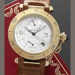 Cartier. An 18ct gold automatic calendar wristwatch with power reserve and fitted Cartier box Pasha, Ref.2395/384557MG, Recent