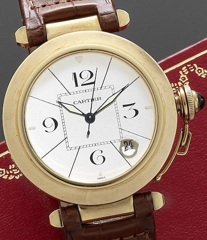 Cartier. An 18ct gold automatic calendar wristwatch with fitted Cartier boxPasha, Ref:1990/M102432, Circa 1990