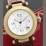 Cartier. An 18ct gold automatic calendar wristwatch with fitted Cartier box Pasha, Ref:1990/M102432, Circa 1990
