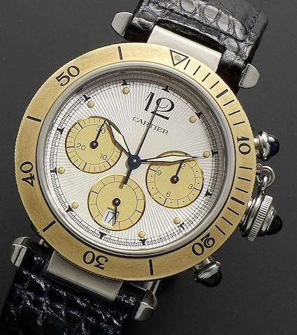 Cartier. A stainless steel quartz chronograph calendar wristwatchPasha, Recent