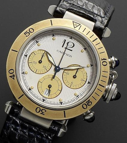 Cartier. A stainless steel quartz chronograph calendar wristwatchPasha, Recent