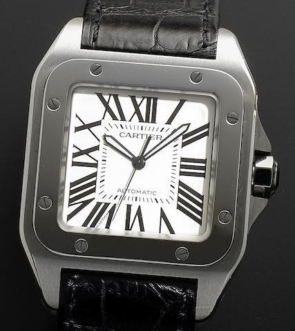 Cartier. A stainless steel automatic wristwatchSantos 100, Recent