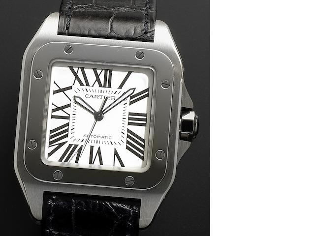 Cartier. A stainless steel automatic wristwatch Santos 100, Recent
