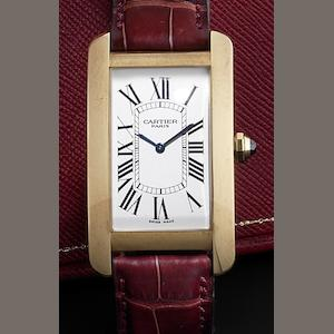 Cartier. An 18ct gold manual wind wristwatch Tank Americaine, Recent