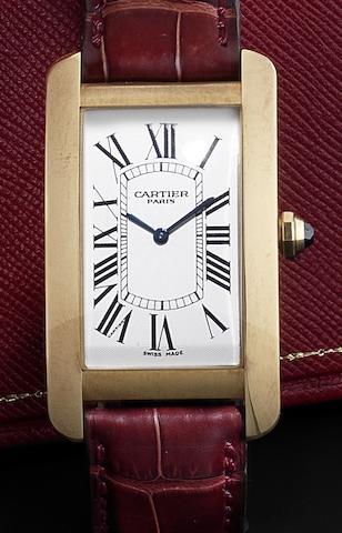 Cartier. An 18ct gold manual wind wristwatch Tank Americaine, Recent