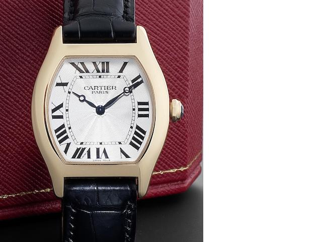 Cartier. An 18ct gold manual wind wristwatch together with fitted Cartier presentation box and Certificate Collection Privee, Tortue, No.0017MG 2498E, Recent