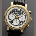 Chopard. An 18ct gold automatic chronograph calendar wristwatch Mille Miglia 2000, Ref:1251, Case No.774503, Movement No.001709, Numbered 234/250, Circa 2000