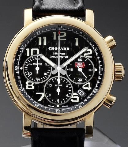 Chopard. An 18ct gold automatic chronograph calendar wristwatch Mille Miglia, Edition Number 031/250, Circa 2001