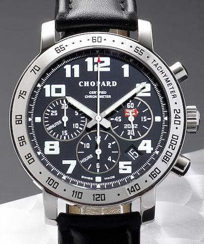 Chopard. An 18ct white gold automatic chronograph calendar wristwatchMille Miglia, Edition Number 005/250, Case No.1254946436, Circa 2002