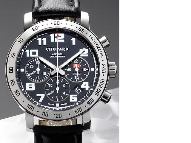 Chopard. An 18ct white gold automatic chronograph calendar wristwatch Mille Miglia, Driver Number 1254, Edition Number 005/250, Case No.1254946436, Circa 2002