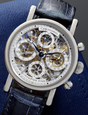 Chronoswiss. An 18ct white gold automatic skeletonised calendar chronograph wristwatch together with fitted presentation box and instruction bookletOpus C.741S, No.2406, Circa 1990