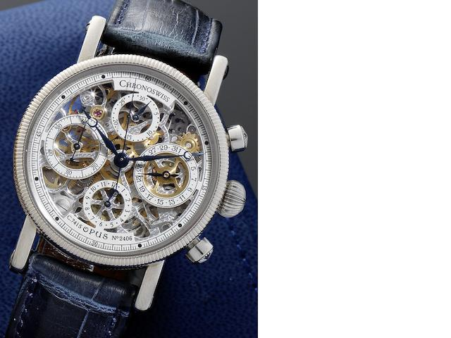 Chronoswiss. An 18ct white gold automatic skeletonised calendar chronograph wristwatch together with fitted presentation box and instruction booklet  Opus C.741S, No.2406, Circa 1990